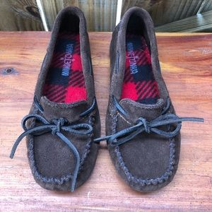 Minnetonka Dark Brown Suede & Plaid Boys Moccasins
